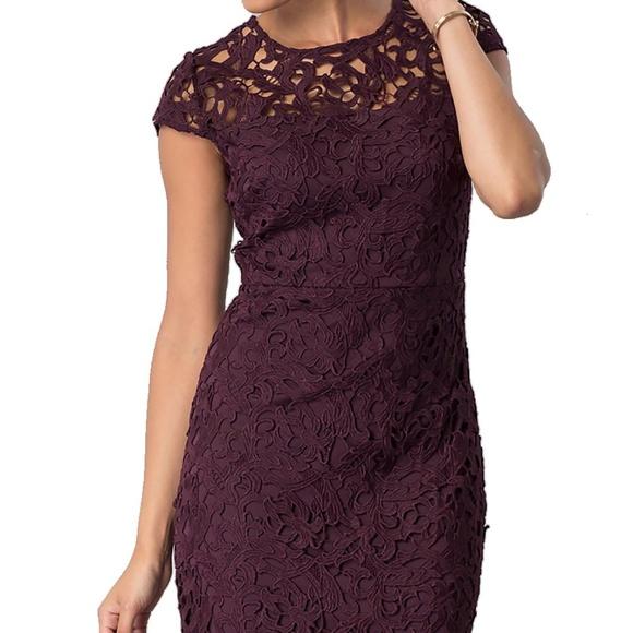 c768148b Jax Dresses   Floral Lace Sheath Dress Plum   Poshmark